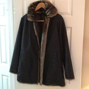 Faux fur and black reversible coat